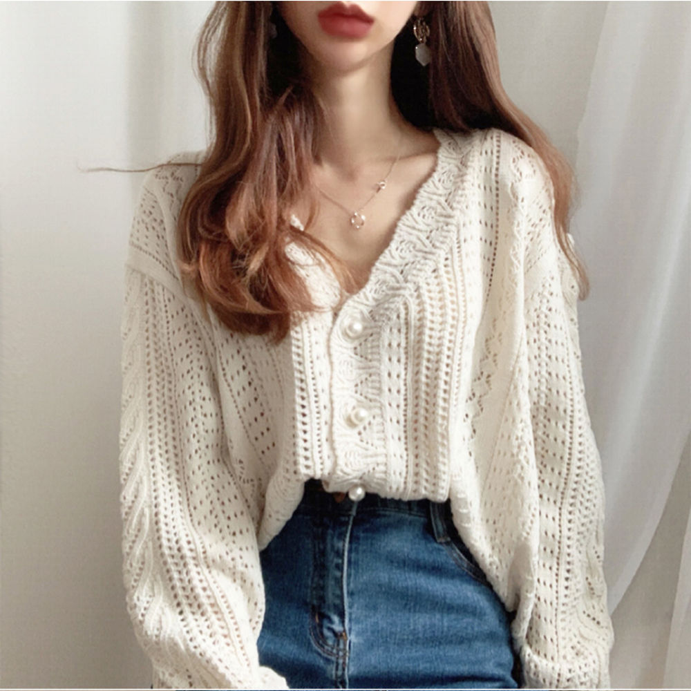 Crochet Lace Sweater Cardigan Women Autumn Clothes Solid V Neck Pearl Button Knit Coat Elegant Top Long Sleeve Hollow Out V777