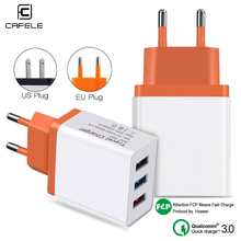 CAFELE 18W EU US Plug USB Charger Quick Charge 3.0 5V 3A Mobile Phone Fast  Charging for IPhone Samsung Huawei Xiaomi