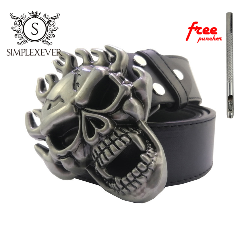 Skull Belt Buckle DIY Accessories Western Cowboy Style Smooth Belt Buckle Punk Rock Style Belt Buckle With Belt