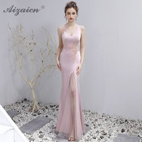 Sexy V Neck Sleeveless Mermaid Long Party Dresses Oriental Style Cheongsam Pink Elegant Modern Women Chinese Evening Dress Qipao