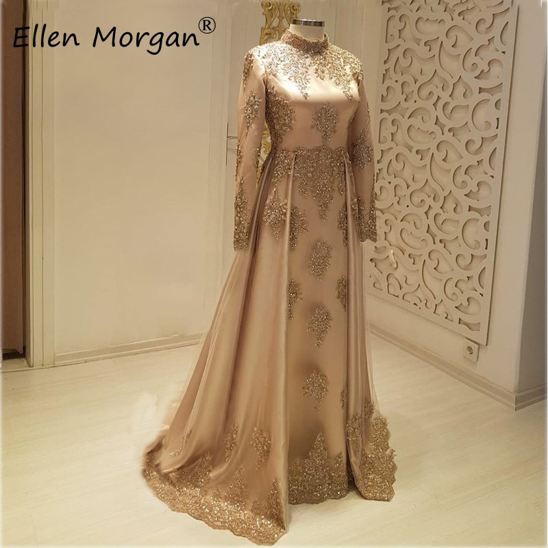 Saudi Arabia Long Sleeves Muslim Evening Dresses 2020 Lace Beading Vintage High Neck Formal Event Party Gowns For Women Wear