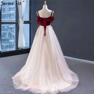 Image 2 - Wine Red Champagne Sleeveless Sexy Evening Dresses Handmade Flowers A Line Evening Gowns 2020 Serene Hill HM66998