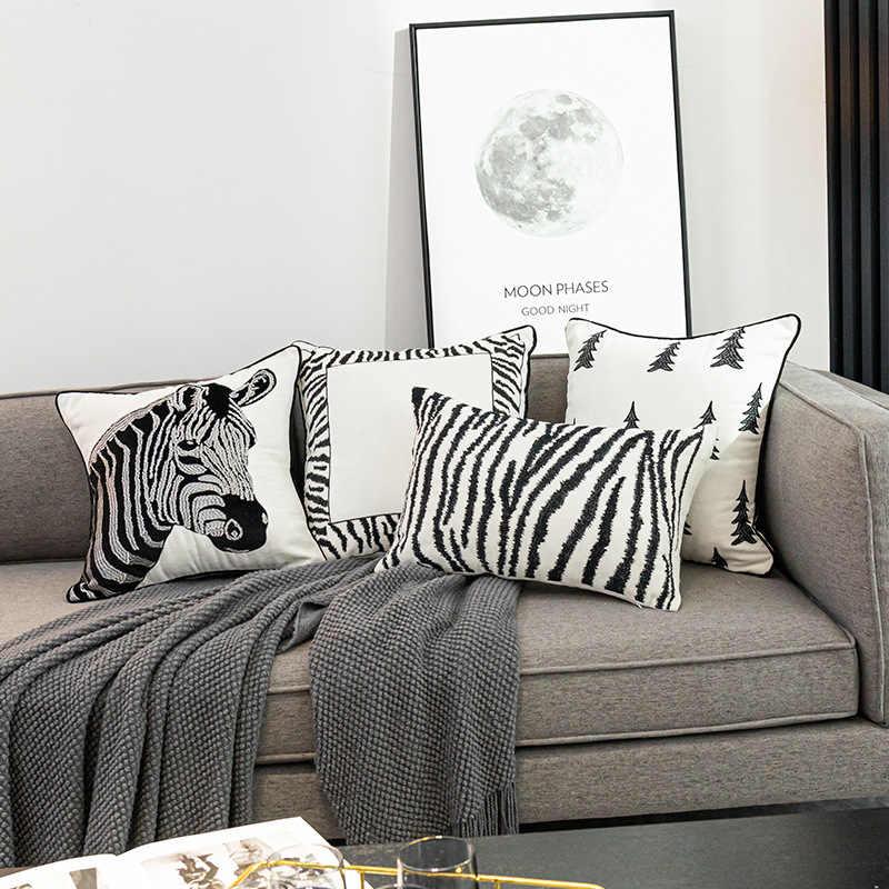 Taie d/'Oreiller Coussin Housse Coussin Zebra SYNTHETIQUE design blanc noir épais Peluche