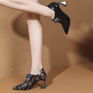 Image 4 - ALLBITEFO/модная цветная обувь из натуральной кожи на высоком каблуке; Очаровательная обувь для отдыха на высоком каблуке; Новинка; Весенняя Офисная Женская обувь; женская обувь на каблуке
