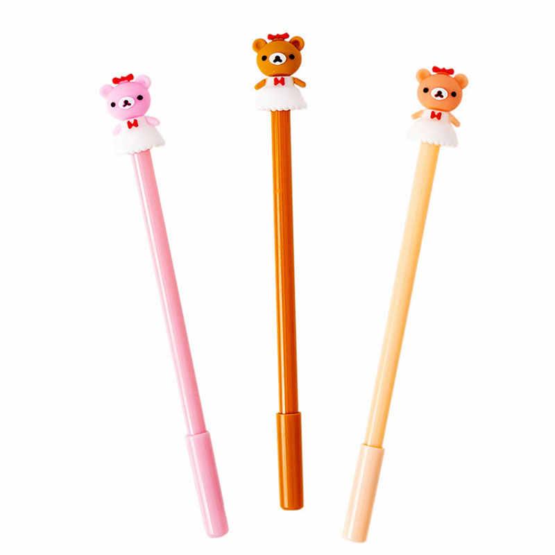 2 개/몫 치마 작은 곰 검은 물 젤 펜 사무실 중립 펜 어린이 선물 kawaii 학교 문구 용품 재료