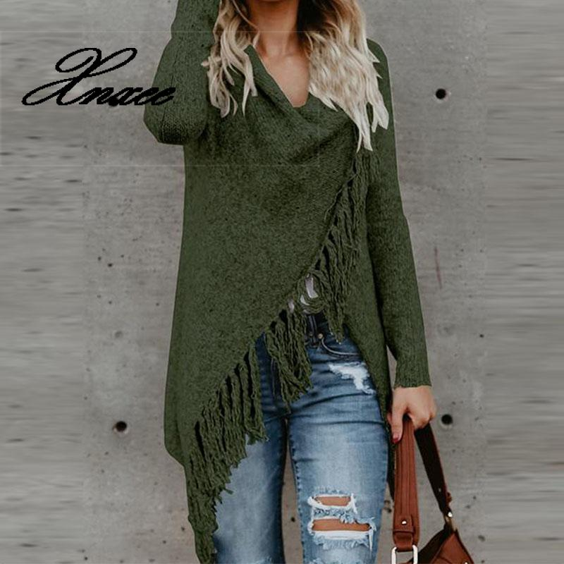 Xnxee Women Knitted Winter Warm Sweater Cardigans Long Sleeve Tassel Fringe Shawl Poncho Cardigan Jackets Coats Oversized