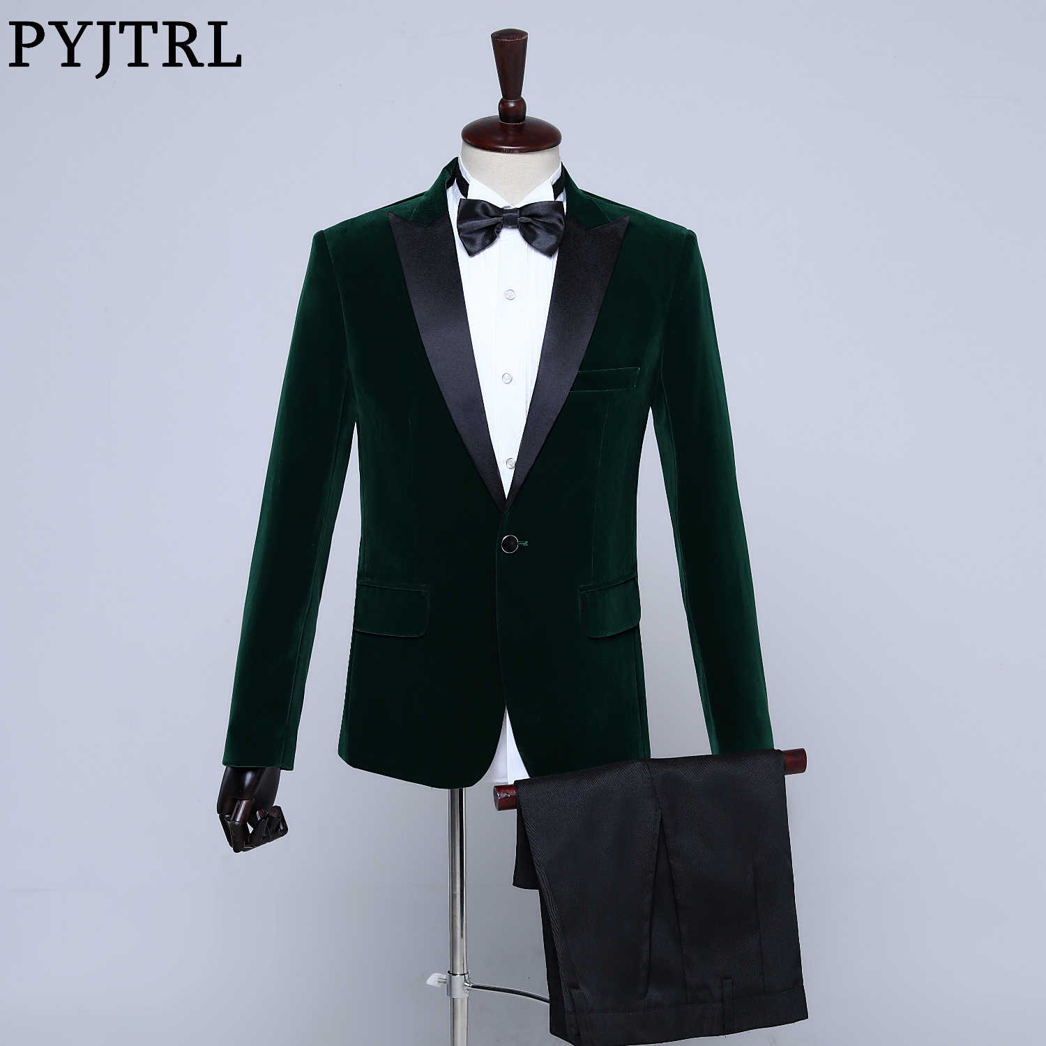 PYJTRL Mens Classic Two-piece Set Black Green Purple Burgundy Blue Velvet Suits Wedding Groom Prom Dress Tuxedo Costume Homme