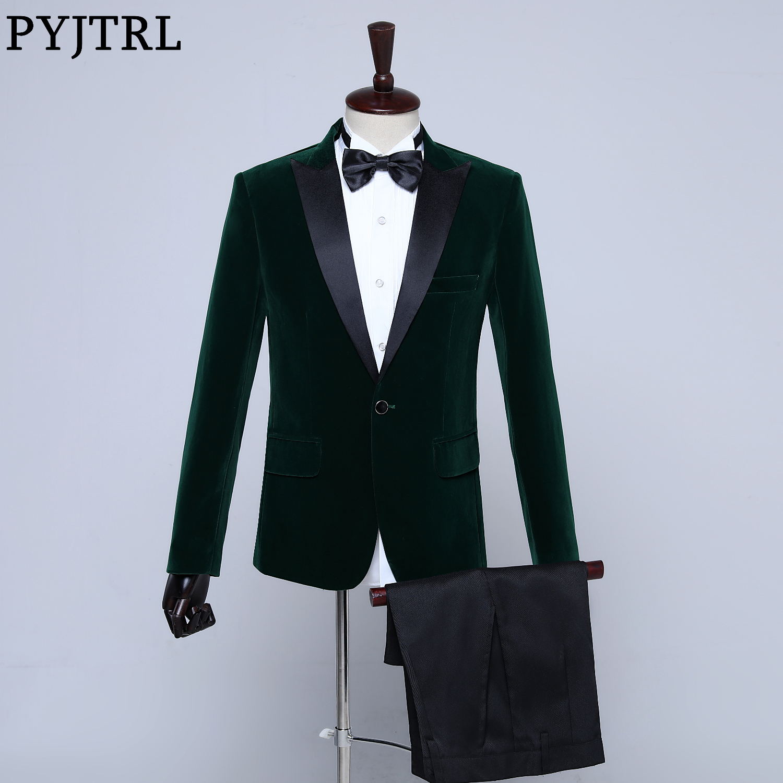 PYJTRL Mens Classic Two-piece Set Black Green Purple Burgundy Blue Velvet Suits Wedding Groom Prom Dress Tuxedo Costume Homme
