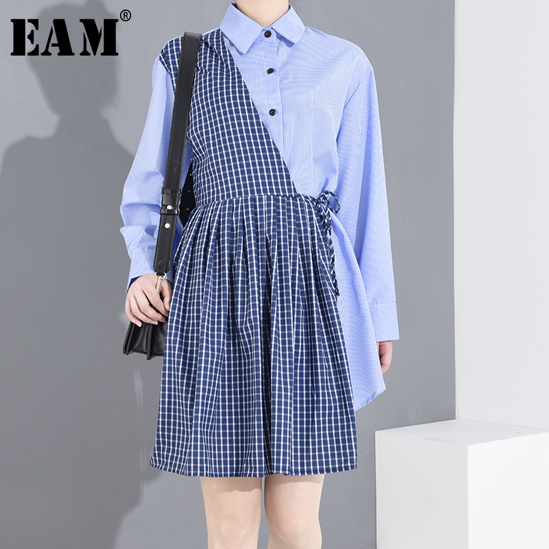 [EAM] Women Blue Striped Pleated Big Size Shirt Dress New Lapel Long Sleeve Loose Fit Fashion Tide Spring Summer 2020 1S38305S