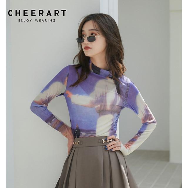 CHEERART 80s Clothes Vintage Long Sleeve Mesh Top Turtleneck T Shirt Women See Through Print Tshirt Graphic Tee Designer Fashion 1