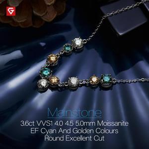 Image 3 - Gigajewe 3.6ct Ef Cyaan Gouden Ronde Cut 18K White Gold Plated 925 Zilveren Moissanite Ketting Diamant Test Geslaagd Sieraden gift