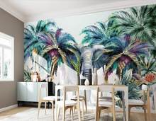 3D photo wallpaper Forest animal, tropical plant, elephant, coconut tree wallpaper custom 3d mural wall(China)