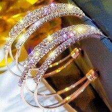 Мода большие круглые серьги многослойные, круглые серьги-кольца для Для женщин блестящие золотые блестки Цвет Стразы Серьги Свадебная вечеринка ювелирные изделия
