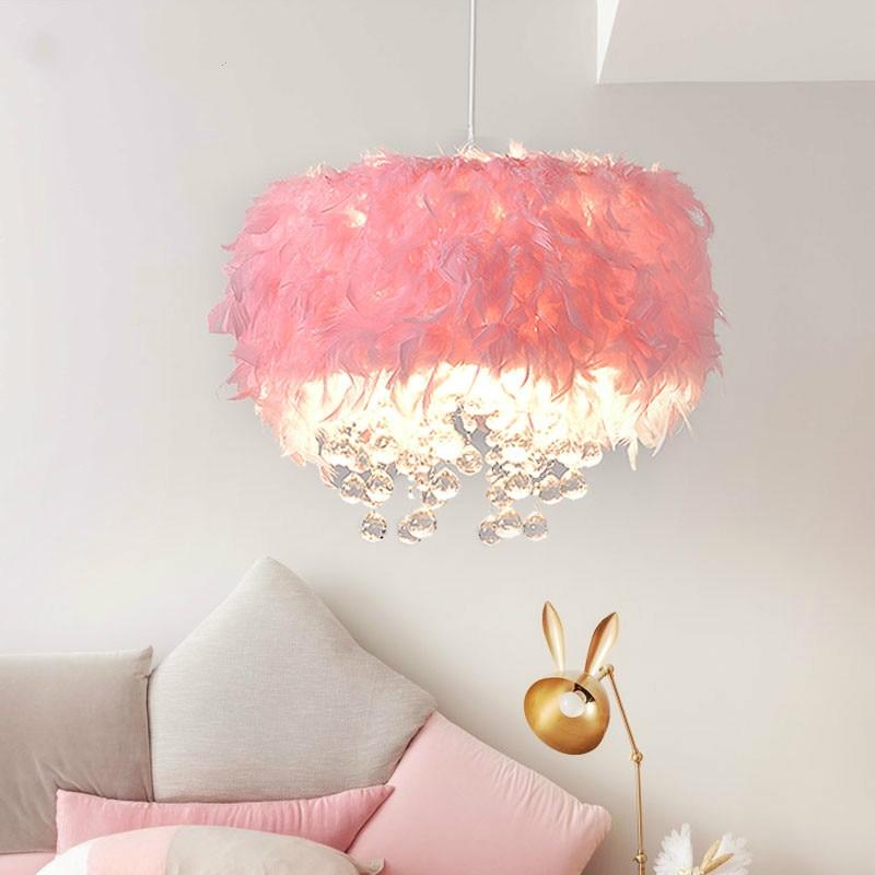 Net Red Children Feather Lamp Pendant Light E27 Led Crystal Droplight Girls & Boy Bedroom Pink Feather Hanging Lamp Kid Lighting