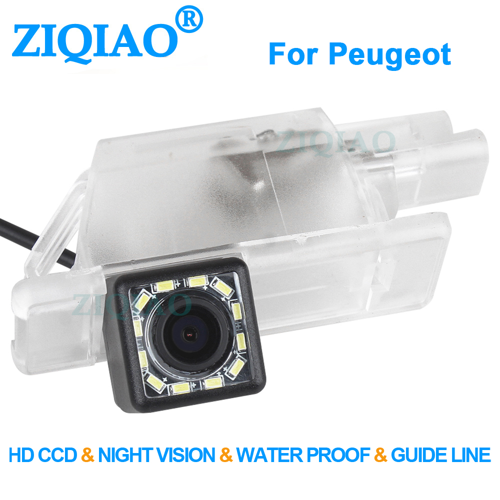 ZIQIAO for Peugeot 1007 2008 208 301 307 308 406 407 408 508 607 806 807 RCZ CCD Car Rear View Camera HS096