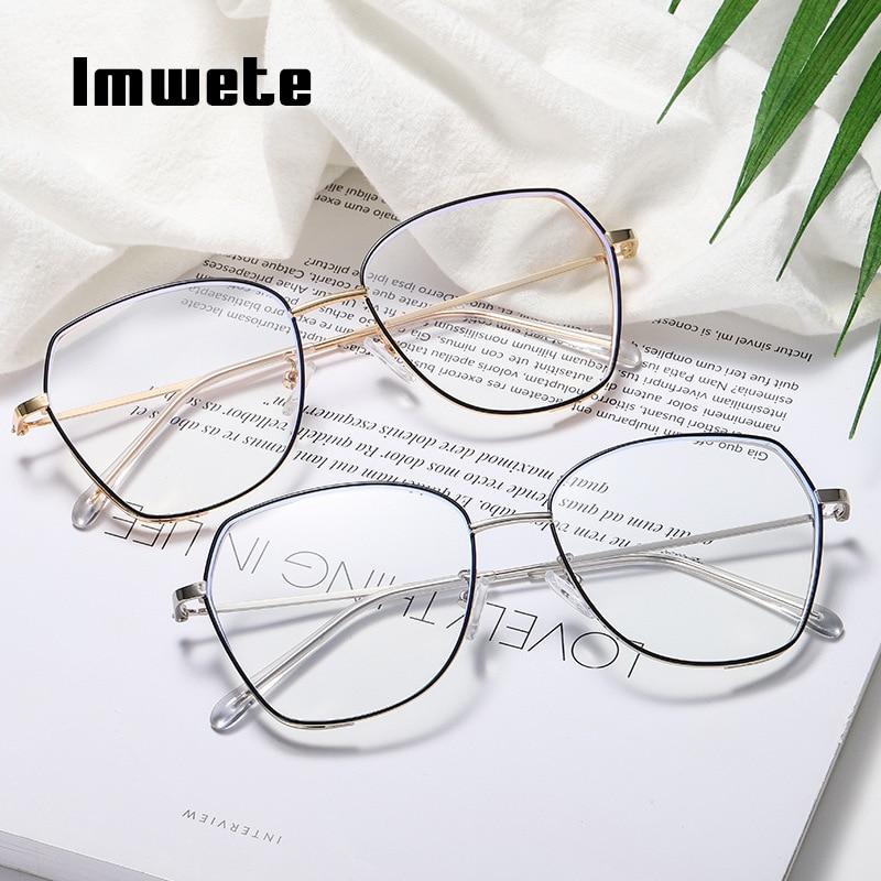 Imwete Anti Blue Light Glasses Frame Women Men Clear Polygon Eyeglasses Ladies Big Frames Transparent Lens Metal Spectacles