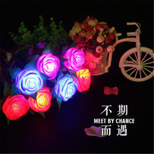 New Rose Flower LED Light Night Changing 7 Colors Romantic Simulation Roses Shining Holiday Party Decoration
