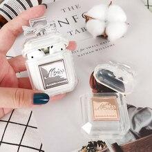 Silicone caso perfume garrafa duas cores para airpods 2 1 fone de ouvido caso protetor luxo à prova de choque e gota claro macio tpu caso