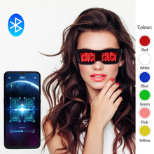 Новые DIY приложение управления многоязычные быстрая вспышка светодиодные вечерние светящиеся очки USB зарядка рождественское освещение концертов игрушки Светящиеся солнцезащитные очки