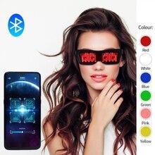 New DIY App Control Multi-lingual Quick Flash Led Party Luminous Glasses USB Charge Christmas Concert Light Toys Glow Sunglasses