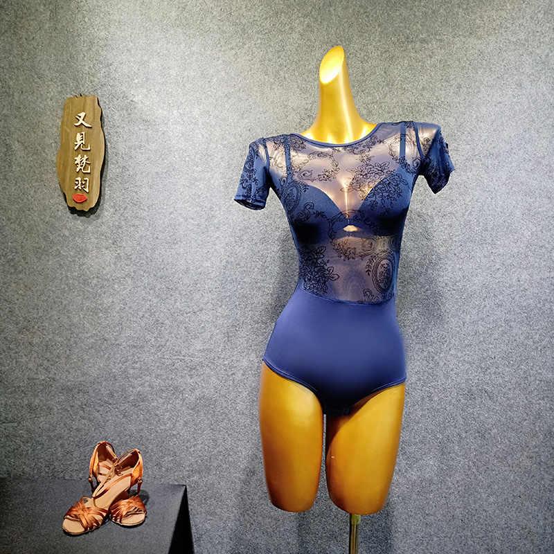 Latin dans üst backless dantel bodysuit kısa kollu jimnastik leotard bale mayoları kadınlar için yetişkin Lycra Spandex dans giyim