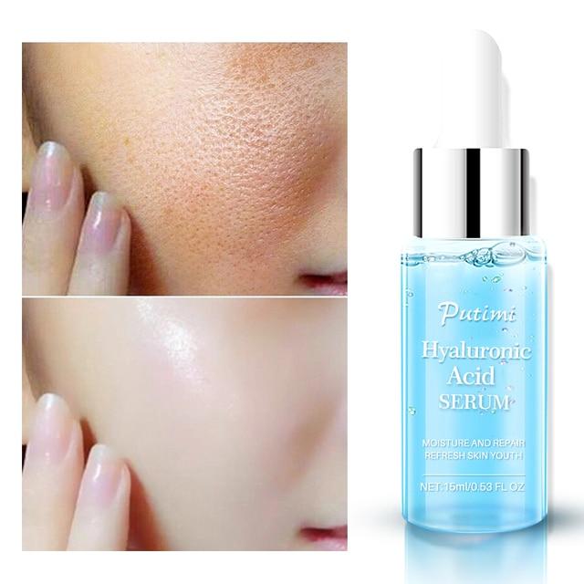 PUTIMI hyaluronik asit yüz serumu nemlendirici, anti kırışıklık Anti Aging kollajen gözenekleri küçültmek yüz özü beyazlatma yüz kremi