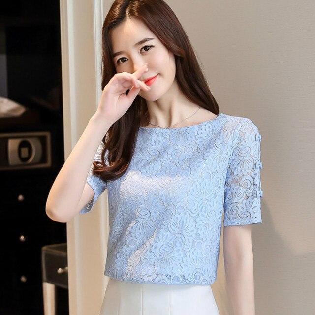 Fashion lace women blouses shirt summer short sleeve women tops hollow Lace blouse women shirt Female Blusas femininas Plus size 5