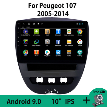 Android 9.0 Car Radio GPS Navigation Multimedia Video Player For Peugeot 107 2005-2014 Steering Wheel Controls Mirror Link WIFI image