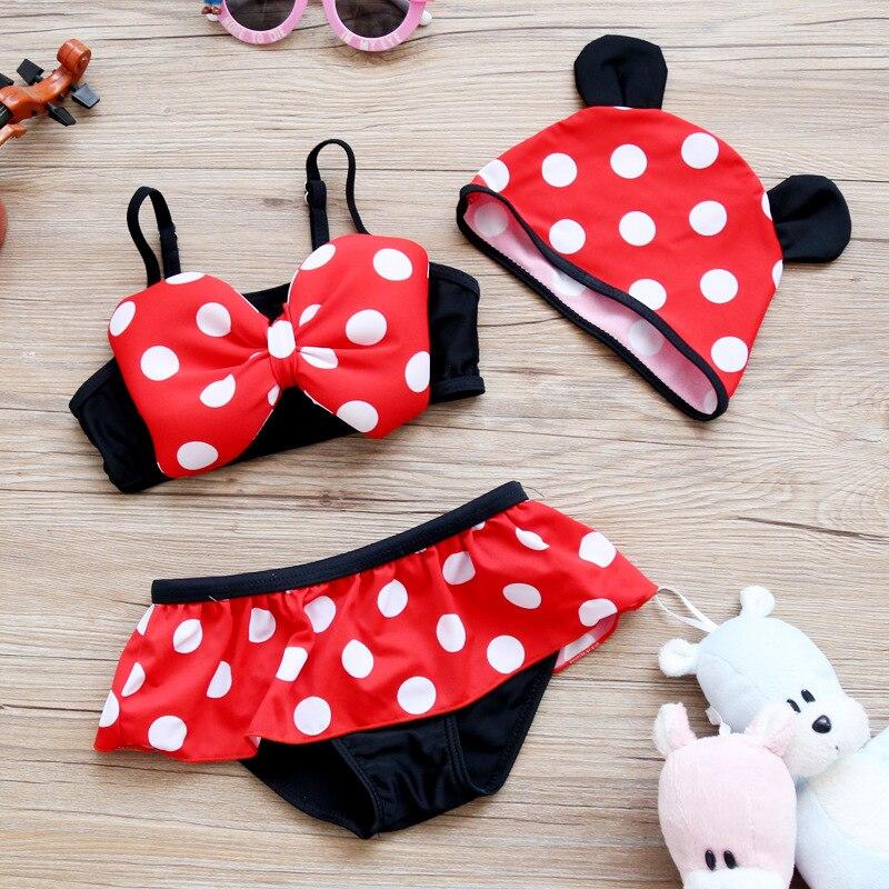 KID'S Swimwear Swimwear Two-piece Swimsuits Women's Cute Polka Dot Children Split Skirt-Hooded Hot Springs Beach Bathing Suit