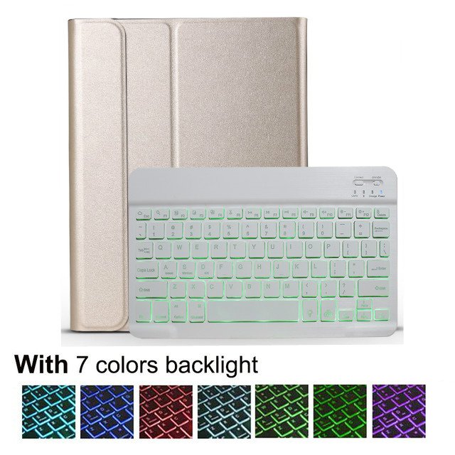 Light keyboard case Orange For IPad 10 2 8 7 Generation 8th 2020 Case A2200 A2198 A2232 Slim Magnetic Bluetooth
