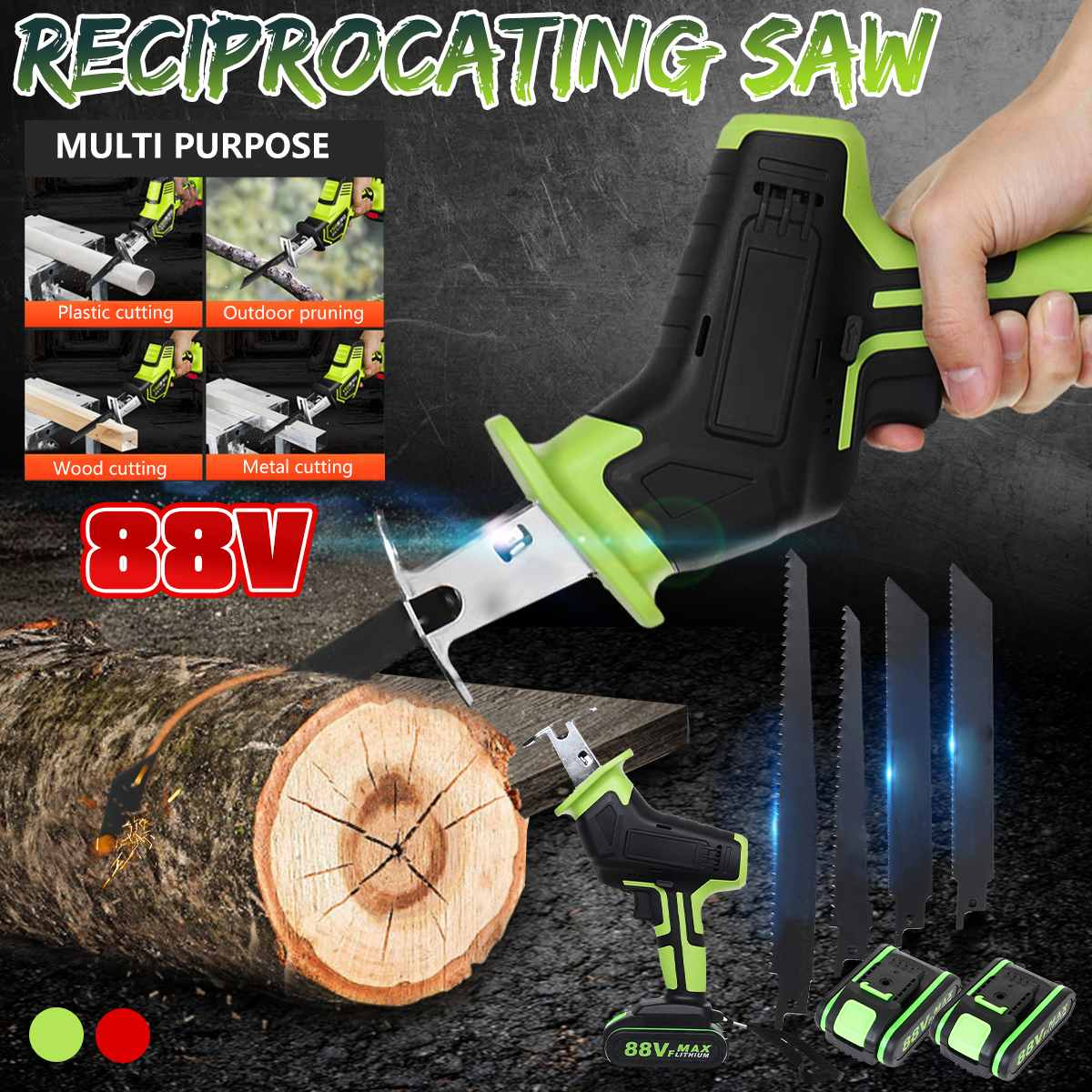 Doersupp 88V Cordless Reciprocating Saw +4 Saw Blades Metal Cutting Wood Tool Portable Woodworking Cutters 220V W/2 Battery