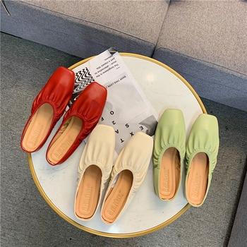 Zapatillas de mujer, sandalias de cuero plisado de diseñador con punta redonda, sandalias Sexy informales de marca para mujer, zapatos de mujer para el verano 2020
