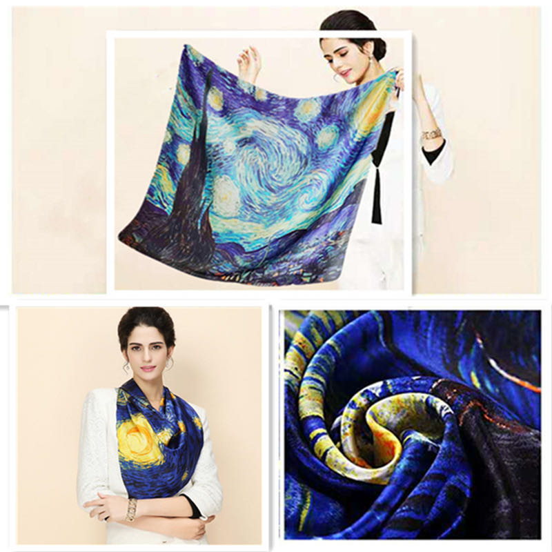 Square Scarf Oil Painting Cityscape House Ocean Bandanas Unisex Muffler Tie For Women