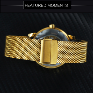 Image 3 - WINNER Official Royal Gold Mechanical Watch Man Mesh Strap Half Cover Skeleton Dial Fashion Dress Mens Watches Top Brand Luxury