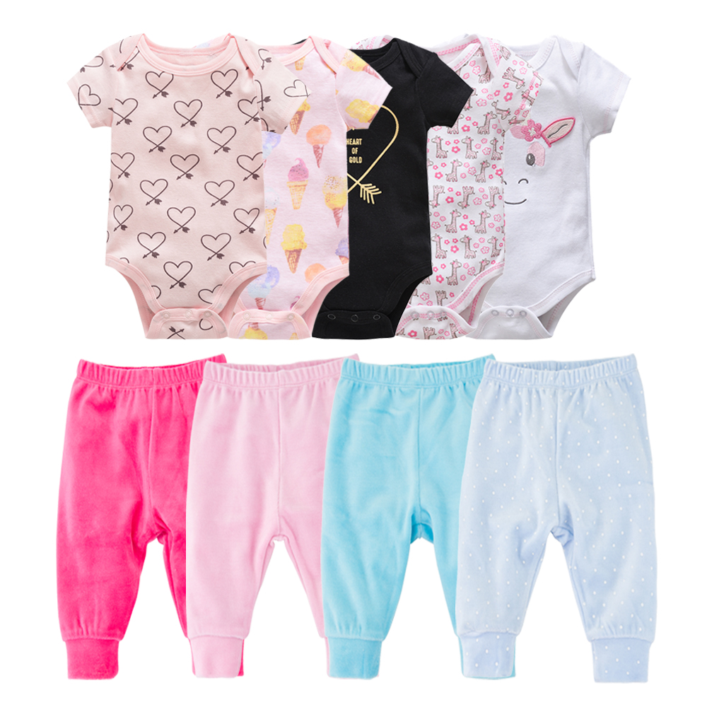 Baby Bodysuit + Pants Summer Kids Clothes Set Cartoon Cute Baby Girl Clothes 100% Organic Cotton Pyjama Bebe  Baby Boy Outfit