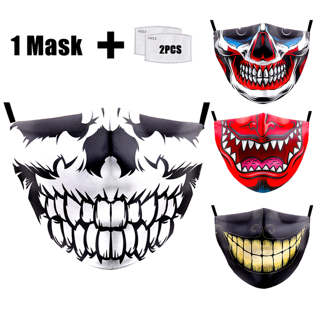Face Mask Funny Print Grimace Ghost Skeleton Half Face Mask Proof Flu Mouth Mask PM2.5 Filters Dustproof Bacteria Reusable Masks 2