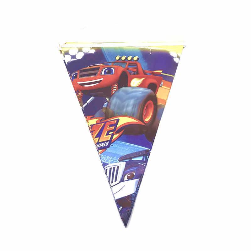 1 Set/pak Gelukkige Verjaardag Jongens Gunsten Vlaggen Blaze Monster Machines Thema 2.5M Banner Decoraties Baby Shower Party Event Wimpels