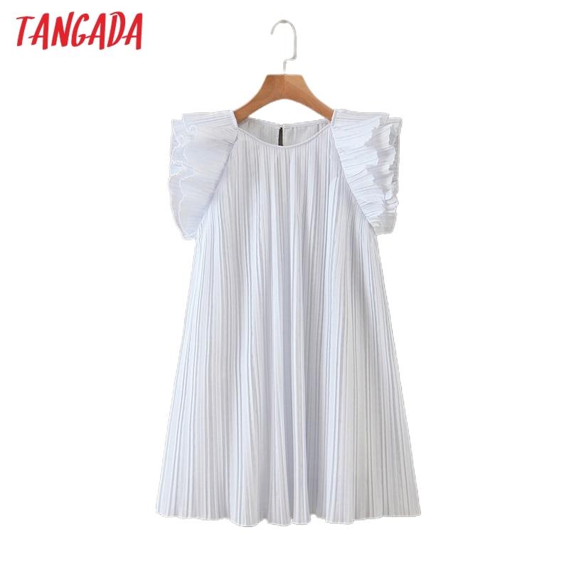 Tangada fashion women solid pleated summer dress short sleeve ladies vintage mini dress vestidos SL526