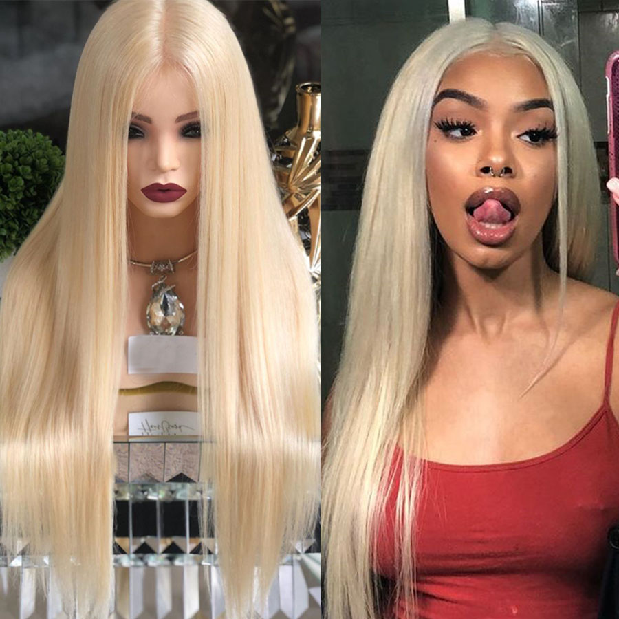 Eversilky Pre Plucked 360 Lace Frontal Human Hair Wigs with Baby Hair 613 Blonde Glueless Full Lace Wigs Virgin Natural Hairline image