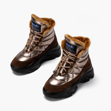 Shoes Ankle-Boots Platform Lace-Up Waterproof Winter Women DONNAIN Beige Round-Toe Real-Wool-Lining