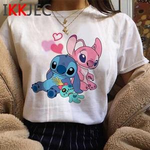 Kawaii Stitch, забавная футболка с героями мультфильмов, Женская Милая футболка с Лило Ститч, аниме, графическая летняя футболка Ohana, модные женские футболки