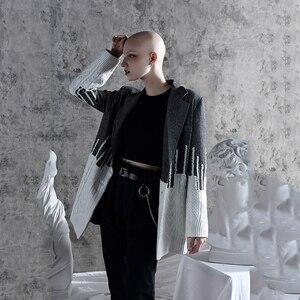 Image 2 - [Eam] solto ajuste contraste cor solto ajuste camisola jaqueta nova lapela manga longa casaco feminino moda maré primavera outono 2020 1a308