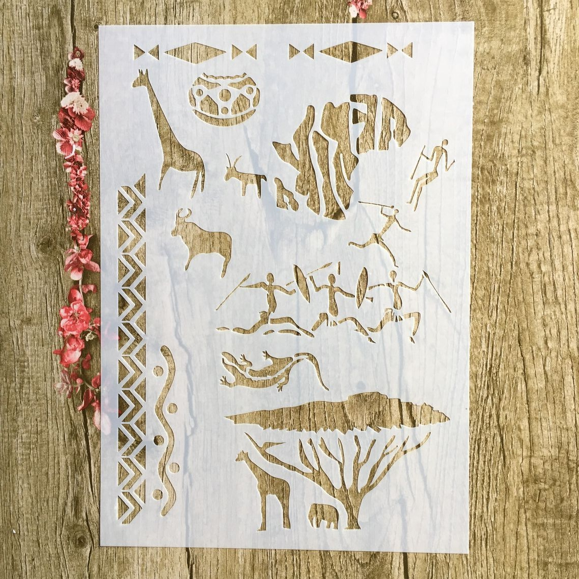 29 * 21cm Primitive Hunting Giraffe DIY Stencils Wall Painting Scrapbook Coloring Embossing Album Decorative Paper Card Template