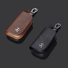 High Quality Leather Car Key Bag 86 Kinds of Fashion Leather Car Logo Key Sets for Mercedes Brown Black Car Key Storage Bag