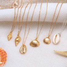 HIYONG Starfish Shell Pendant Necklace Natural Shell Gold Cowrie Women Best Friend Cowry Seashell Necklace Bohemian Jewelry fashion bohemian shell pendant necklace natural shell gold women seashell necklace wedding jewelry for women