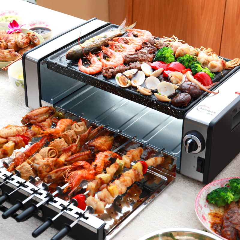 Household No-smoke Barbecue Pits Korean Commercial Automatic Electric Barbecue Machine Non-stick Electric Grills & Griddles 220v
