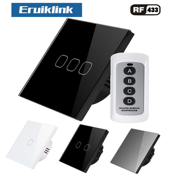 Eruiklink EU/UK touch switch light switch RF Wireless remote control 1\2\3Gang AC110V 250V Wall post touch installation eu uk standard eruiklink wall switch light touch switch 2 gang 1 way ac110v 240v wall touch switch