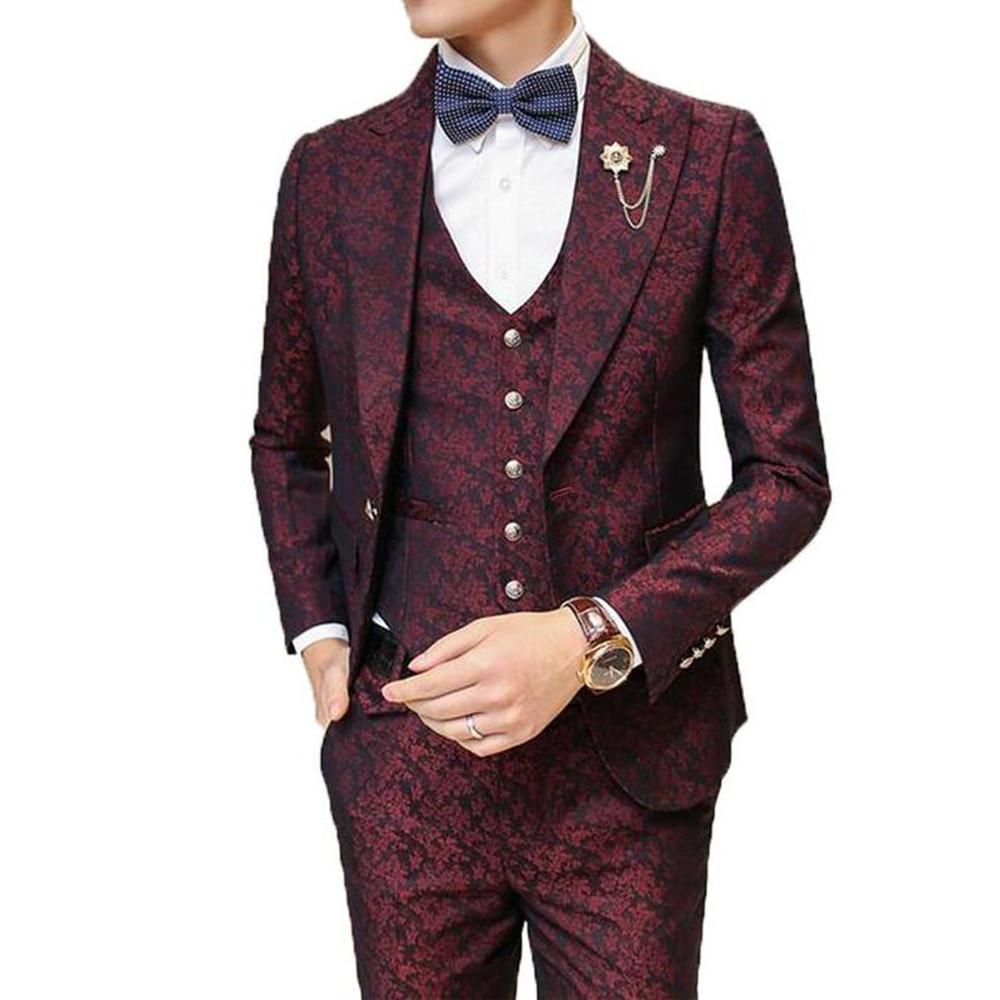 Male Suit With Pants Wedding Groom Prom Suits For Men Burgundy Floral Jacquard Slim Fit 3 Pieces / Set ( Jacket + Vest+Pants)