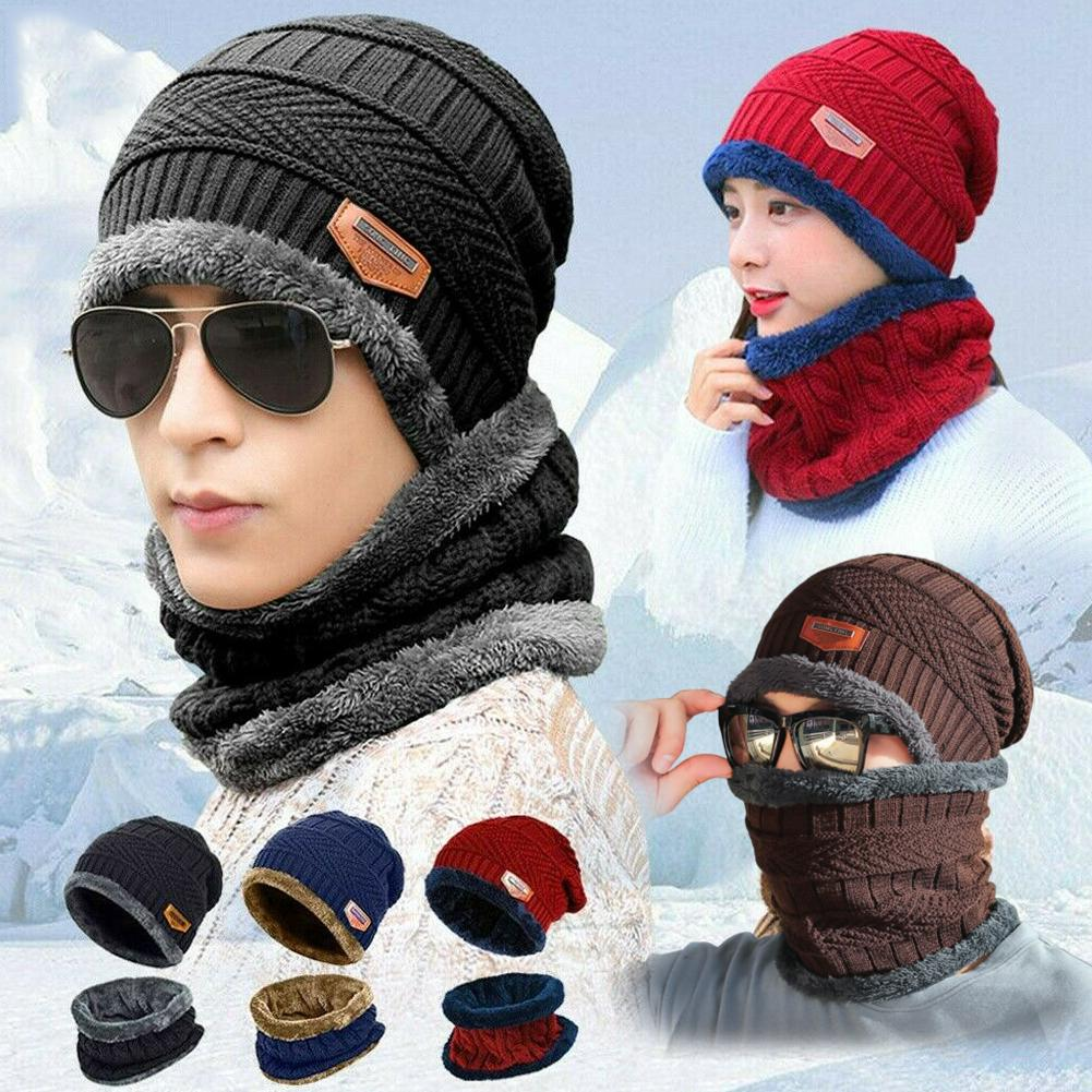 Outdoor Winter Windproof Knitted Hat Scarf Set For Men Warm Thicken Fleece Beanie Hat Scarf Set Solid Knit Ski Cap Ring Scarf