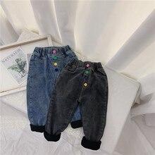 Зимние вельветовые джинсы для маленьких девочек и мальчиков; брюки; коллекция года; теплые брюки; Детские потертые джинсы; плотные Длинные шаровары; S10207